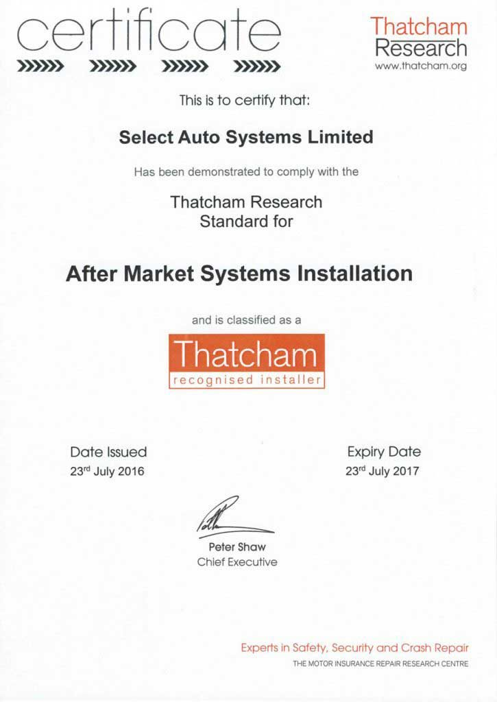 Thatcham accredited vehicle security installers